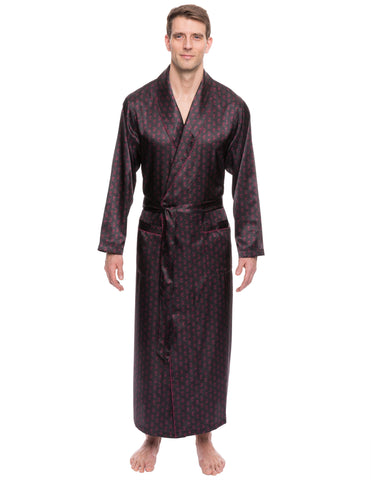 Men's Satin Long Robe - Paisley Black/Fig