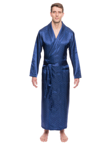 Men's Satin Long Robe - Paisley Blue