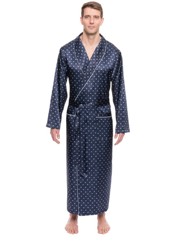 Men's Satin Long Robe - Diamond Squares Dark Blue
