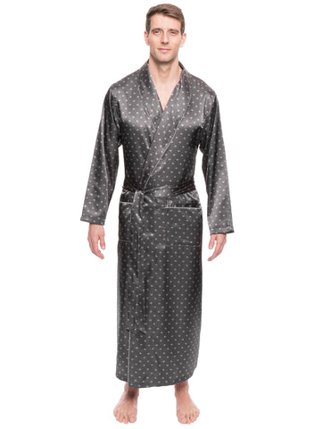 Men's Satin Long Robe - Diamond Squares Dark Grey