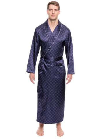Men's Satin Long Robe - Diamond Windowpane Navy