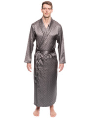 Men's Satin Long Robe - Diamond Windowpane Charcoal