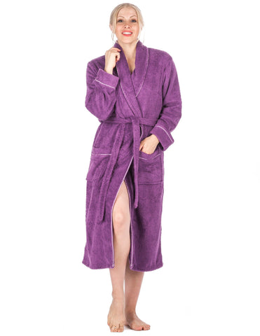 Women's 100% Cotton Terry Bathrobe - Purple