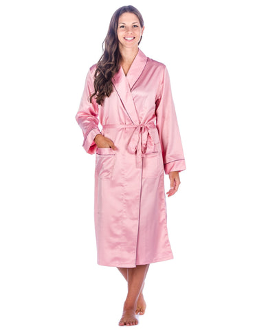 Women's Premium Satin Robe - Pink