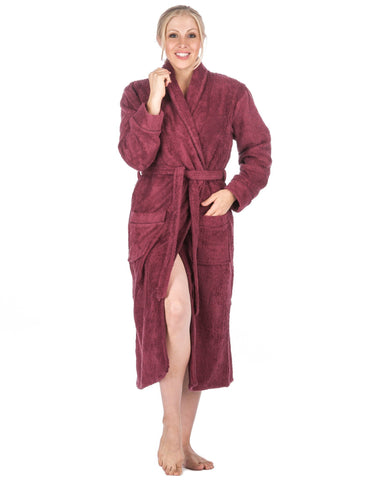 Women's 100% Cotton Terry Bathrobe - Red