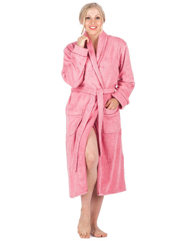 Women's 100% Cotton Terry Bathrobe - Rose
