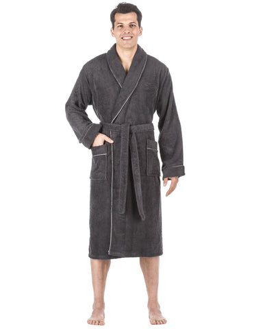 Men's 100% Cotton Terry Bathrobe - Dark Grey