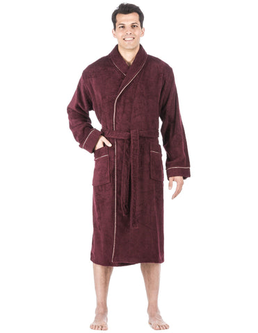 Men's 100% Cotton Terry Bathrobe - Fig