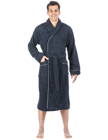 Men's 100% Cotton Terry Bathrobe - Dark Blue
