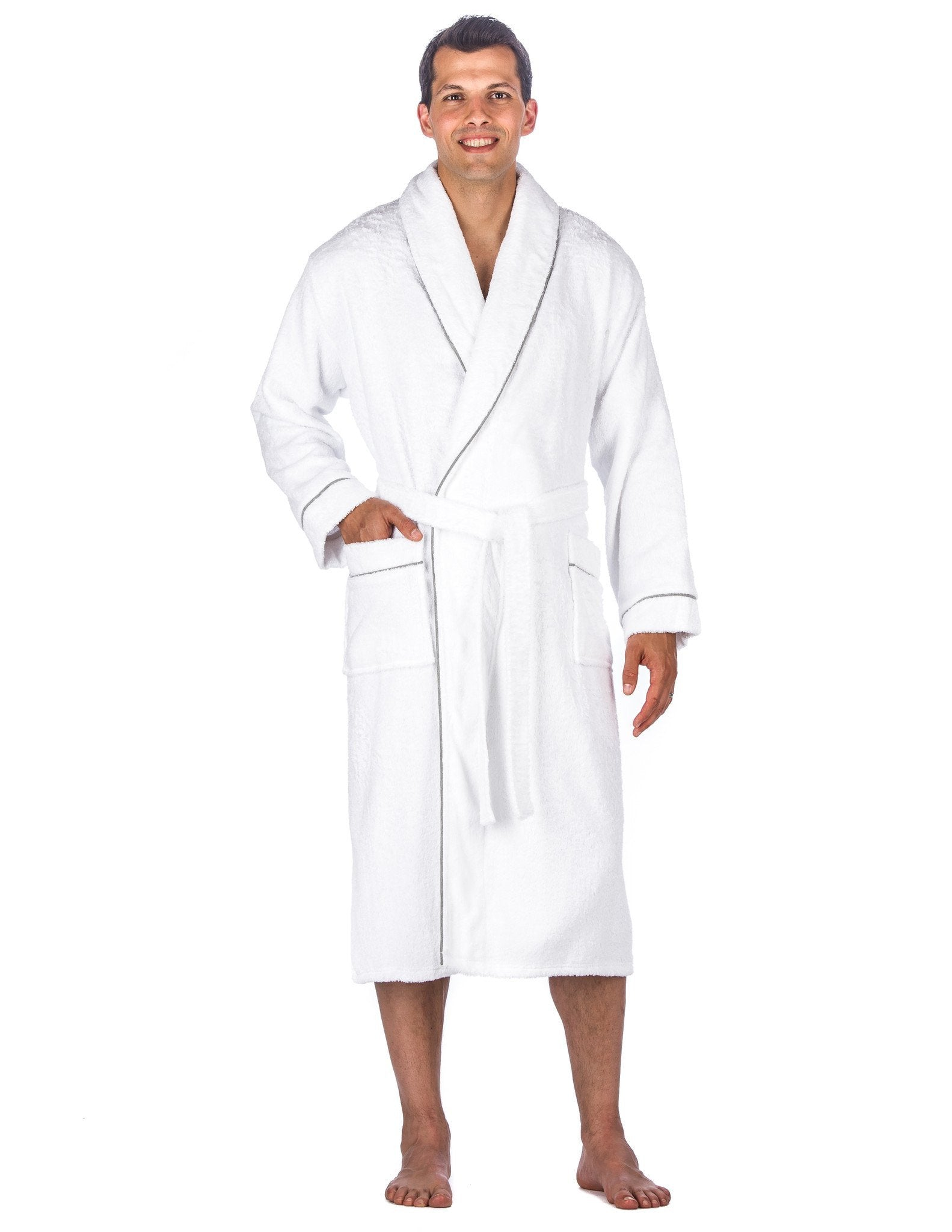 Men's 100% Cotton Terry Bathrobe - White