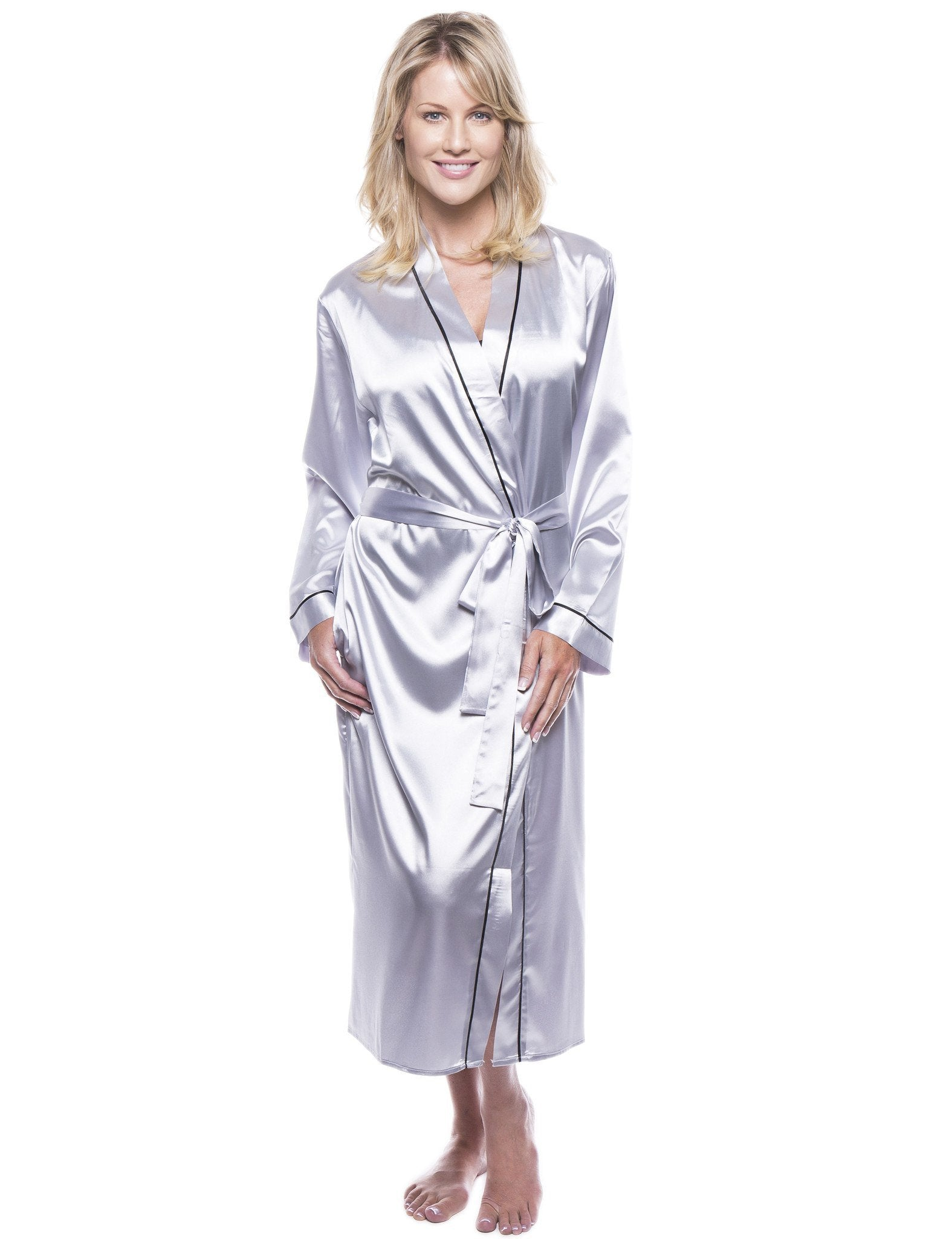 9b3c34d89826d Women's Classic Satin Robe - Grey – Robesmith