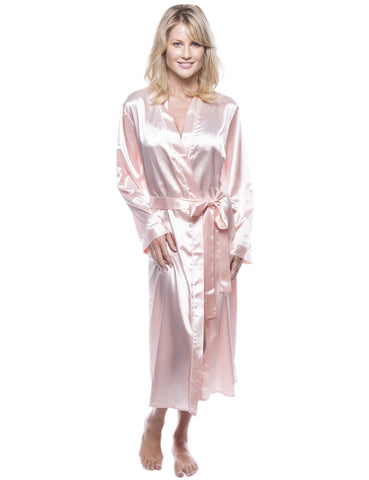 Women's Classic Satin Robe - Light Coral