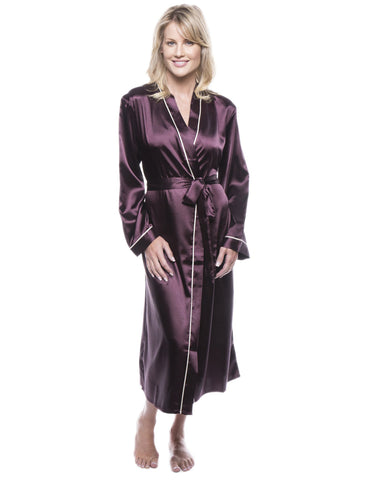 Women's Classic Satin Robe - Wine