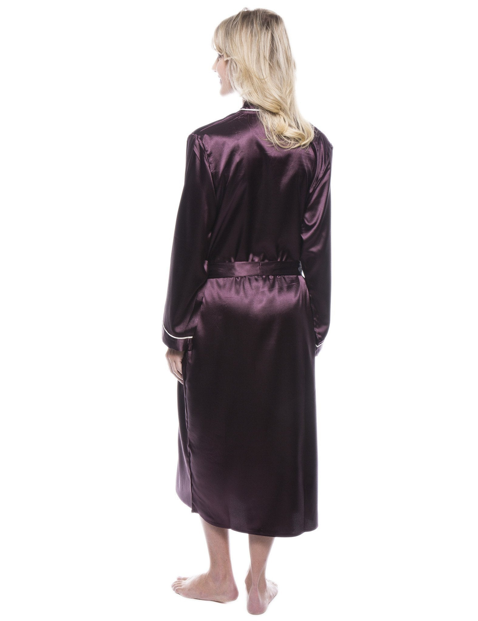 c42b56605a8d4 Women's Classic Satin Robe - Wine – Robesmith