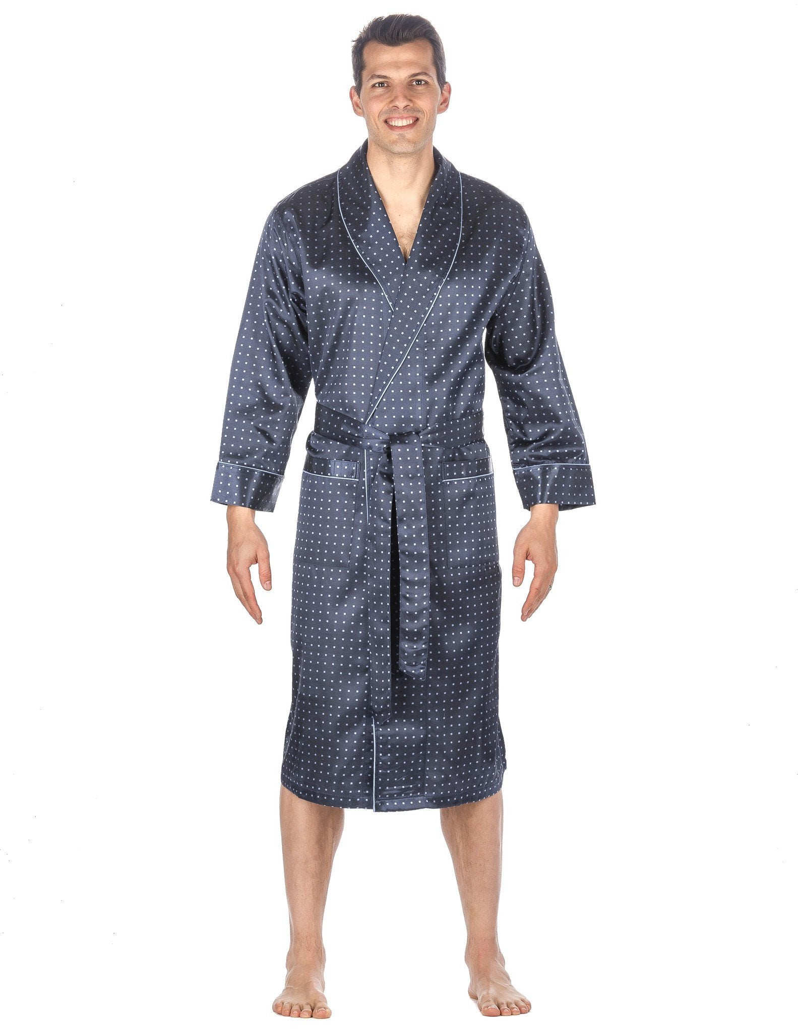 Men's Premium Satin Robe - Floating Squares
