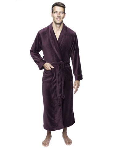Twin Boat Men's Coral Fleece Plush Full Length Robe - Fig