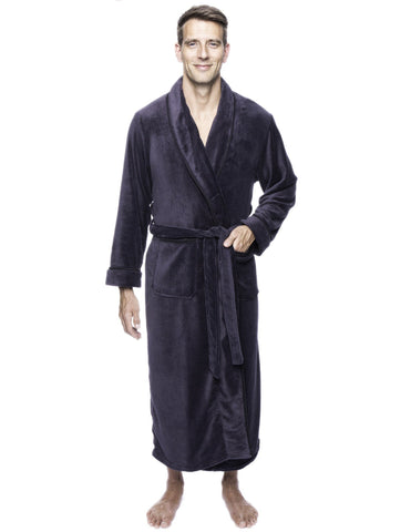 Twin Boat Men's Coral Fleece Plush Full Length Robe - Iron