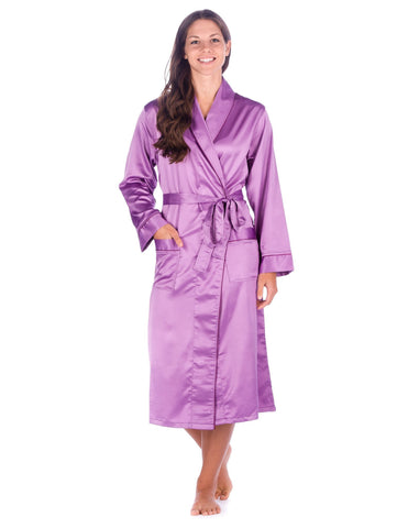 Women's Premium Satin Robe - Violet