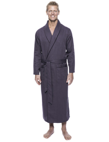 Men's 100% Woven Cotton Robe - Herringbone Dark Grey