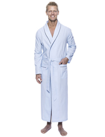 Men's 100% Woven Cotton Robe - Sky Blue