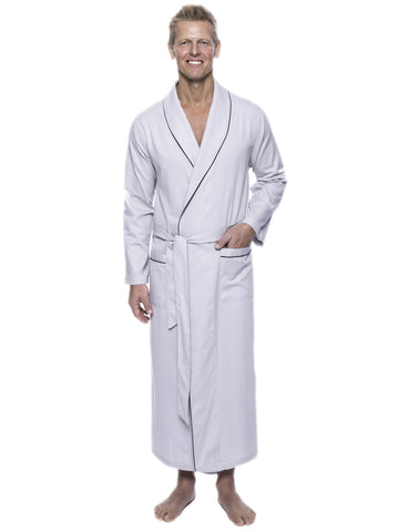 Men's 100% Woven Cotton Robe - Light Grey