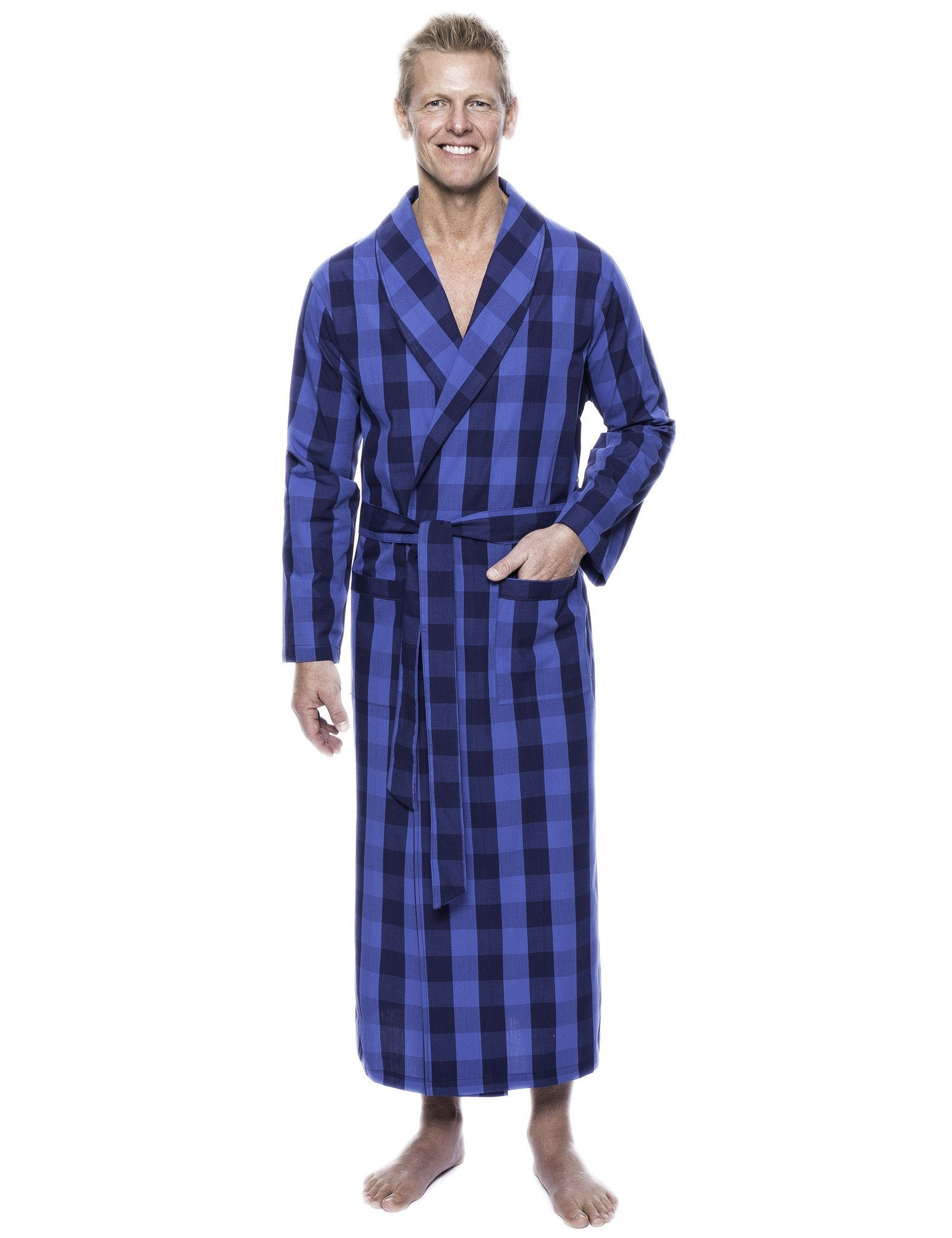 Men's 100% Woven Cotton Robe - Gingham Navy/Blue