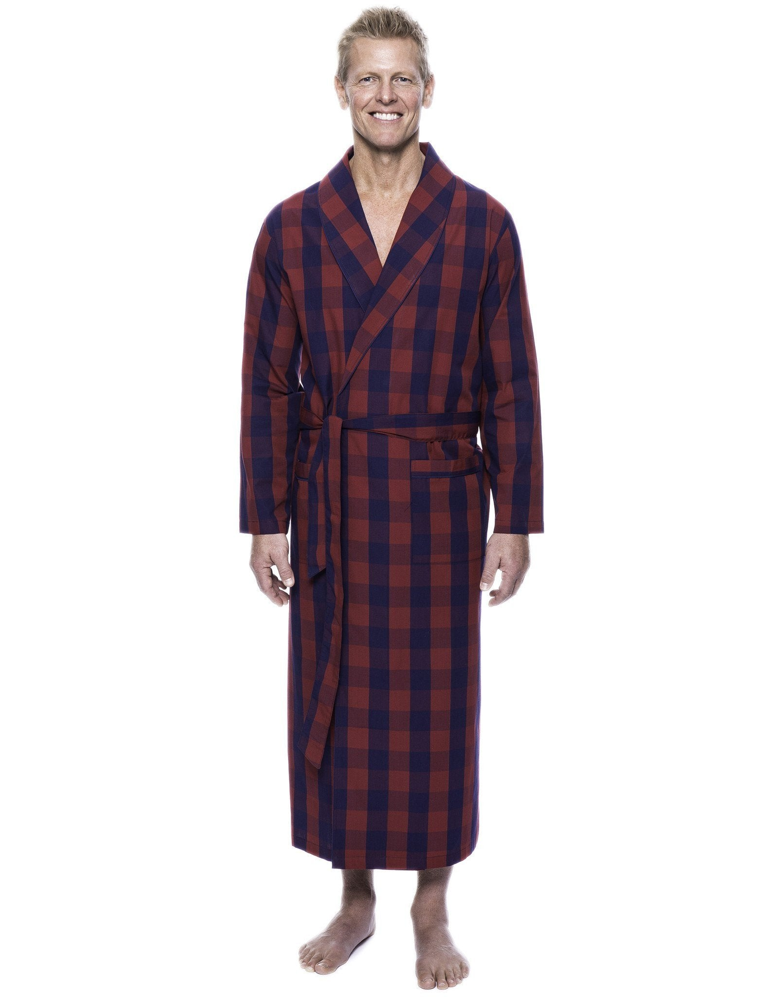 Men's 100% Woven Cotton Robe - Gingham Red/Navy