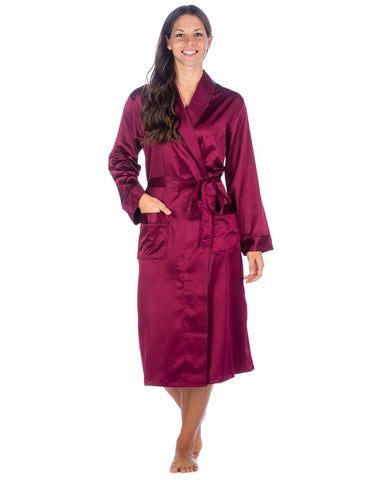 Women's Premium Satin Robe - Wine