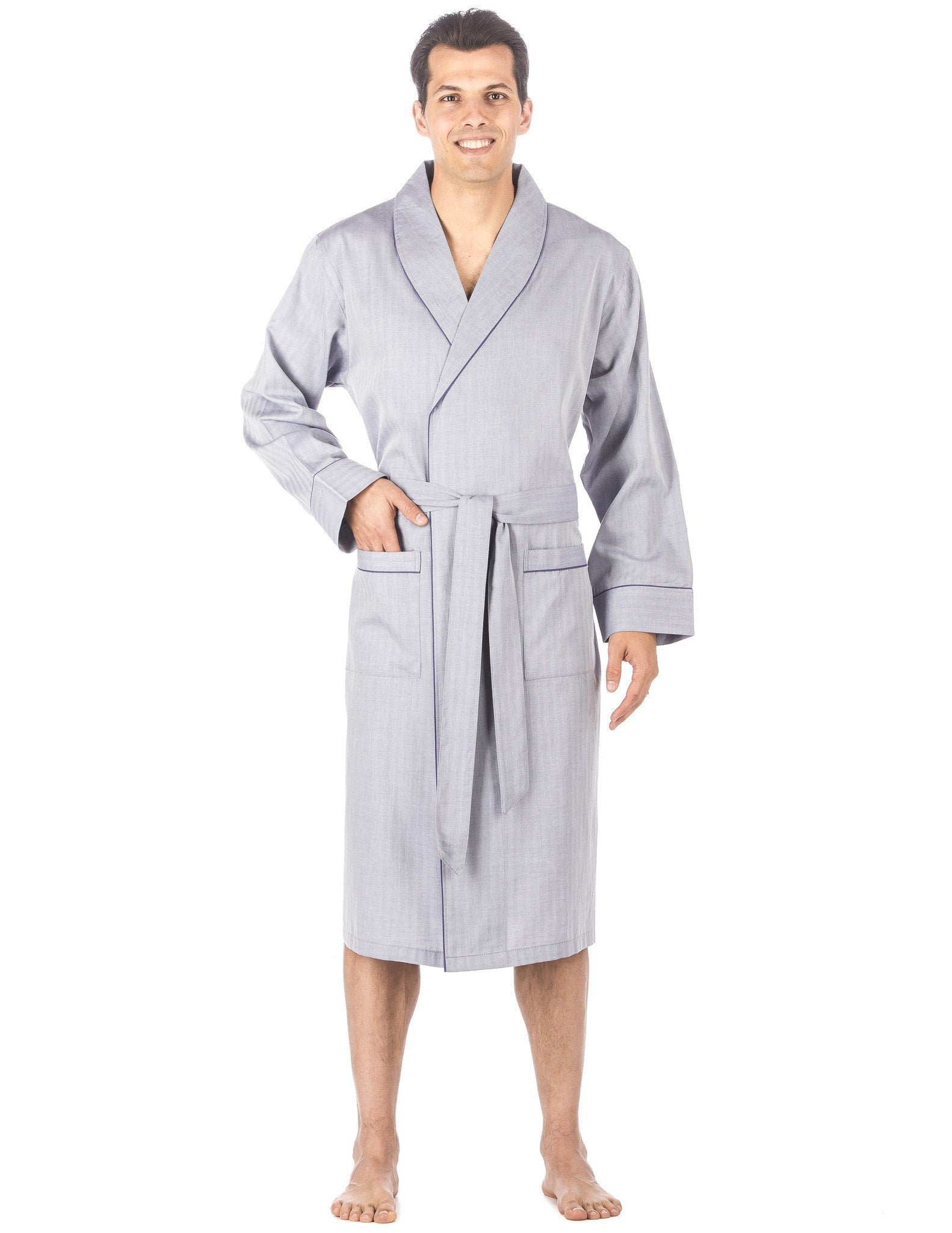 Mens Premium 100% Cotton Robe - Herringbone Blue
