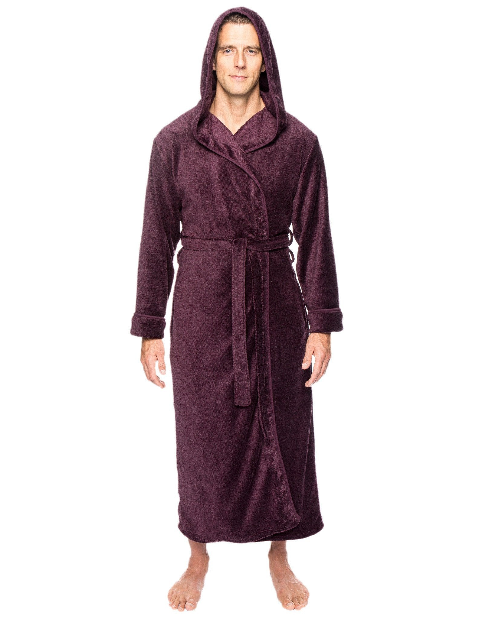 Men s Premium Coral Fleece Long Hooded Plush Spa Bath Robe - Marl Fig Black 784ab15d9
