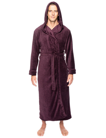Men's Premium Coral Fleece Long Hooded Plush Spa/Bath Robe - Marl Fig/Black