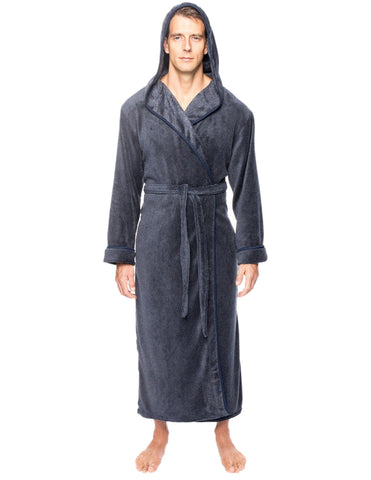 Men's Premium Coral Fleece Long Hooded Plush Spa/Bath Robe - Marl Navy/Grey