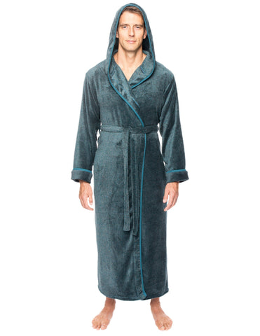 Men's Premium Coral Fleece Long Hooded Plush Spa/Bath Robe - Marl Teal/Grey