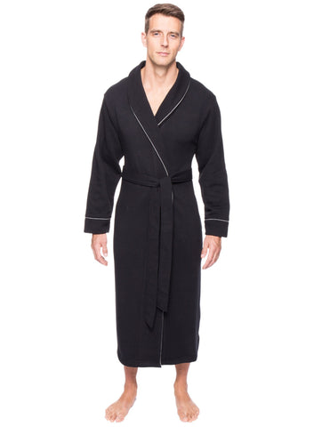 Men's Fleece Lined French Terry Robe - Black