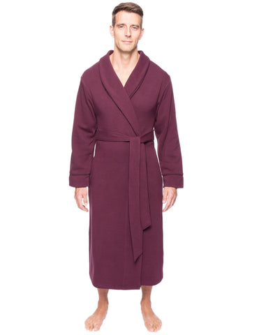 Men's Fleece Lined French Terry Robe - Fig