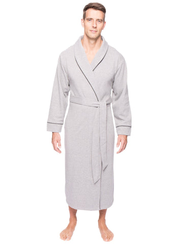 Men's Fleece Lined French Terry Robe - Heather Grey