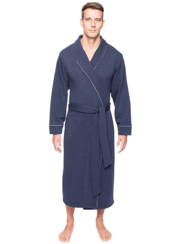 Men's Fleece Lined French Terry Robe - Navy