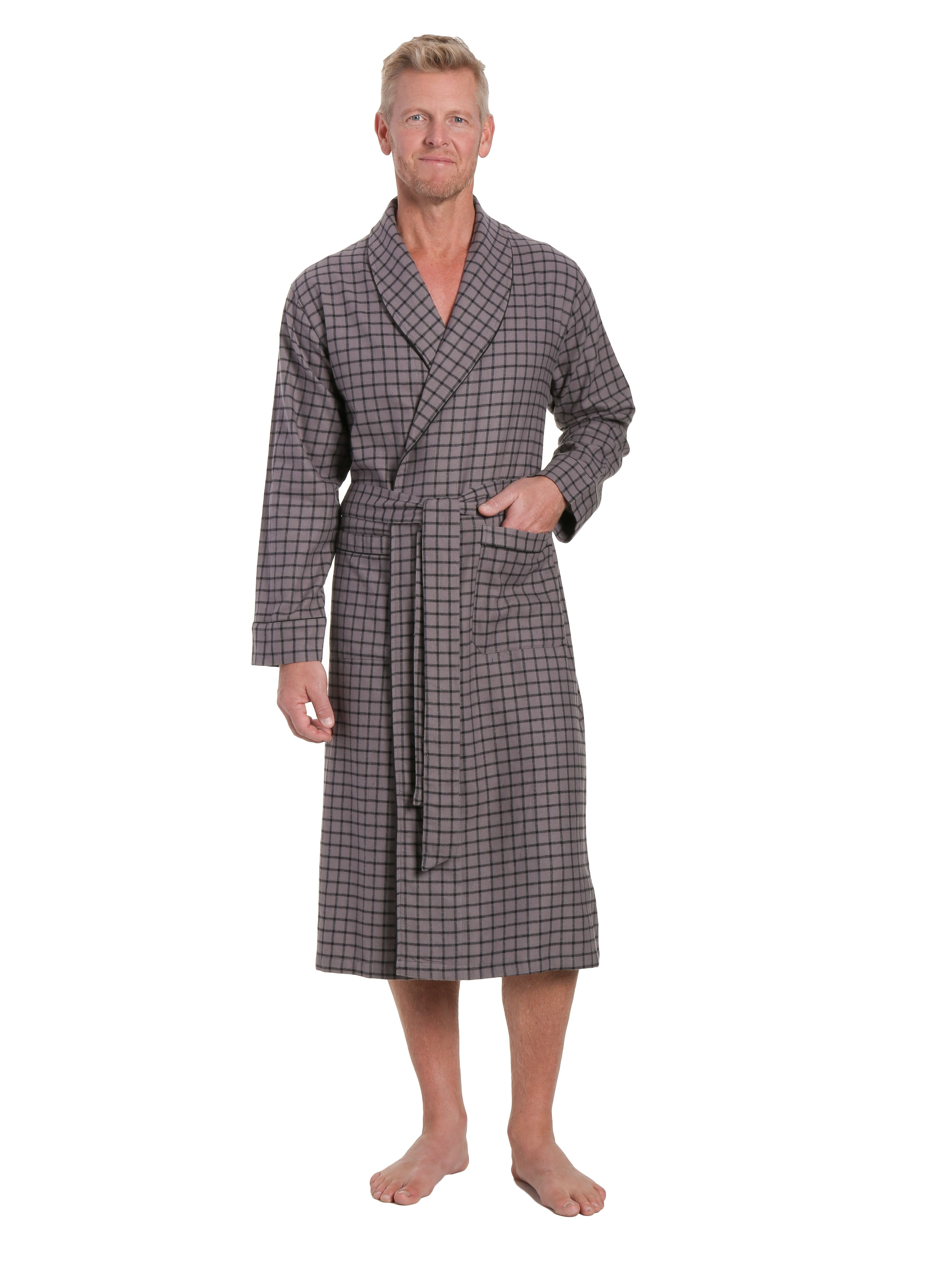 Mens Premium 100% Cotton Flannel Robe - Checks Charcoal-Black