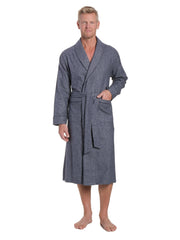 Mens Premium 100% Cotton Flannel Robe - Dark Blue
