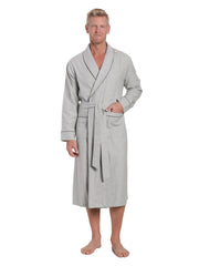 Mens Premium 100% Cotton Flannel Robe - Heather Gray
