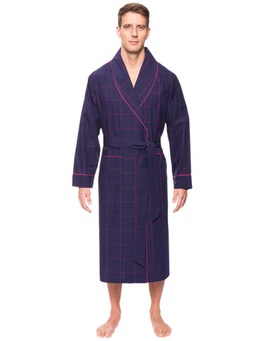 Mens Premium 100% Cotton Robe - Windowpane Checks Blue Red 9fa83c414