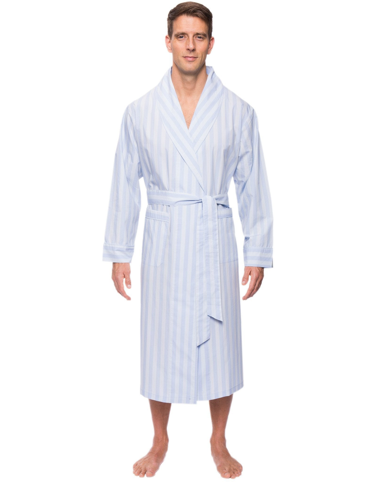 Mens Premium 100% Cotton Robe - Stripes Chambray Blue