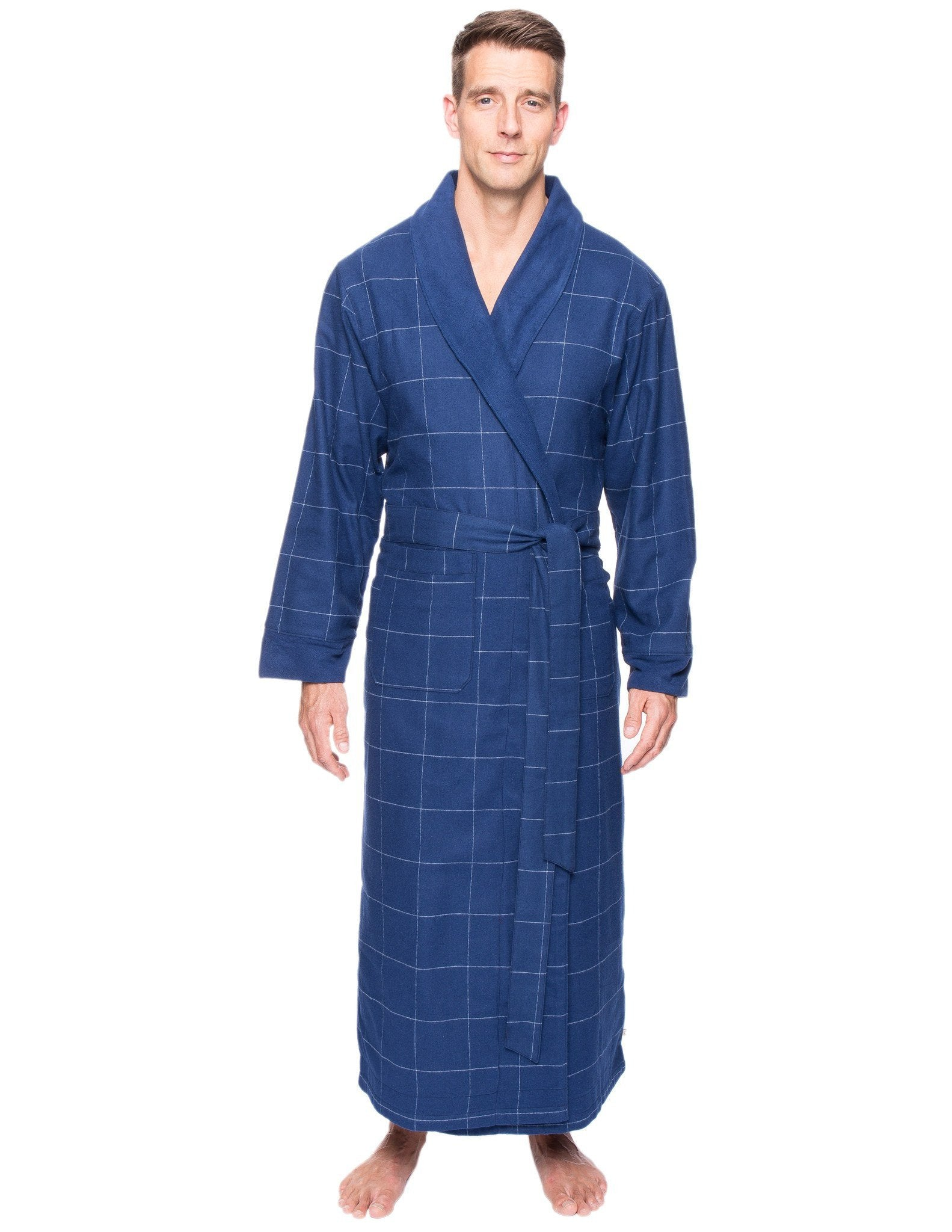 Men's Premium 100% Cotton Flannel Fleece Lined Robe - Windowpane Checks Dark Blue