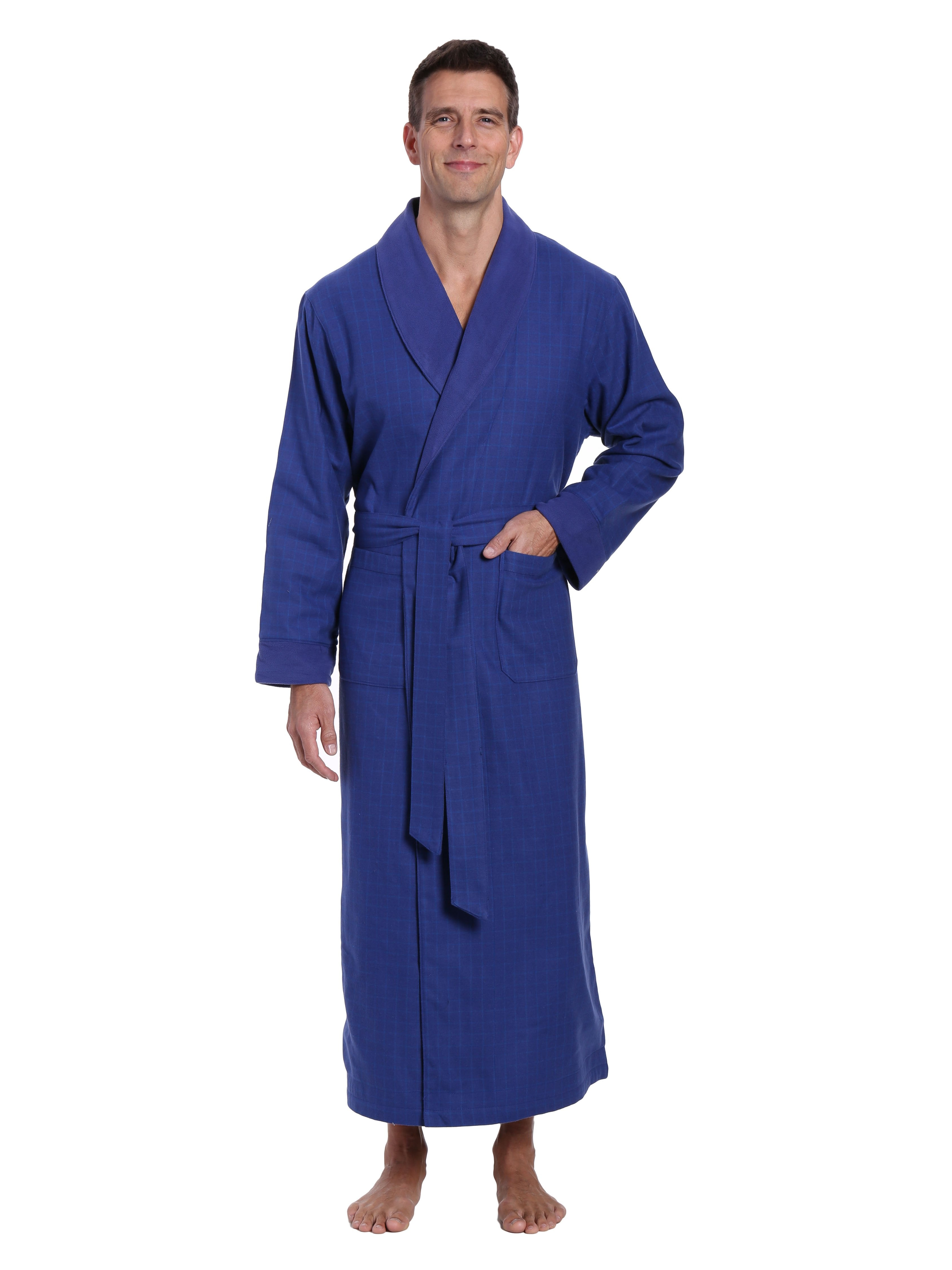 Men's Premium 100% Cotton Flannel Fleece Lined Robe - Windowpane Checks - Navy Blue