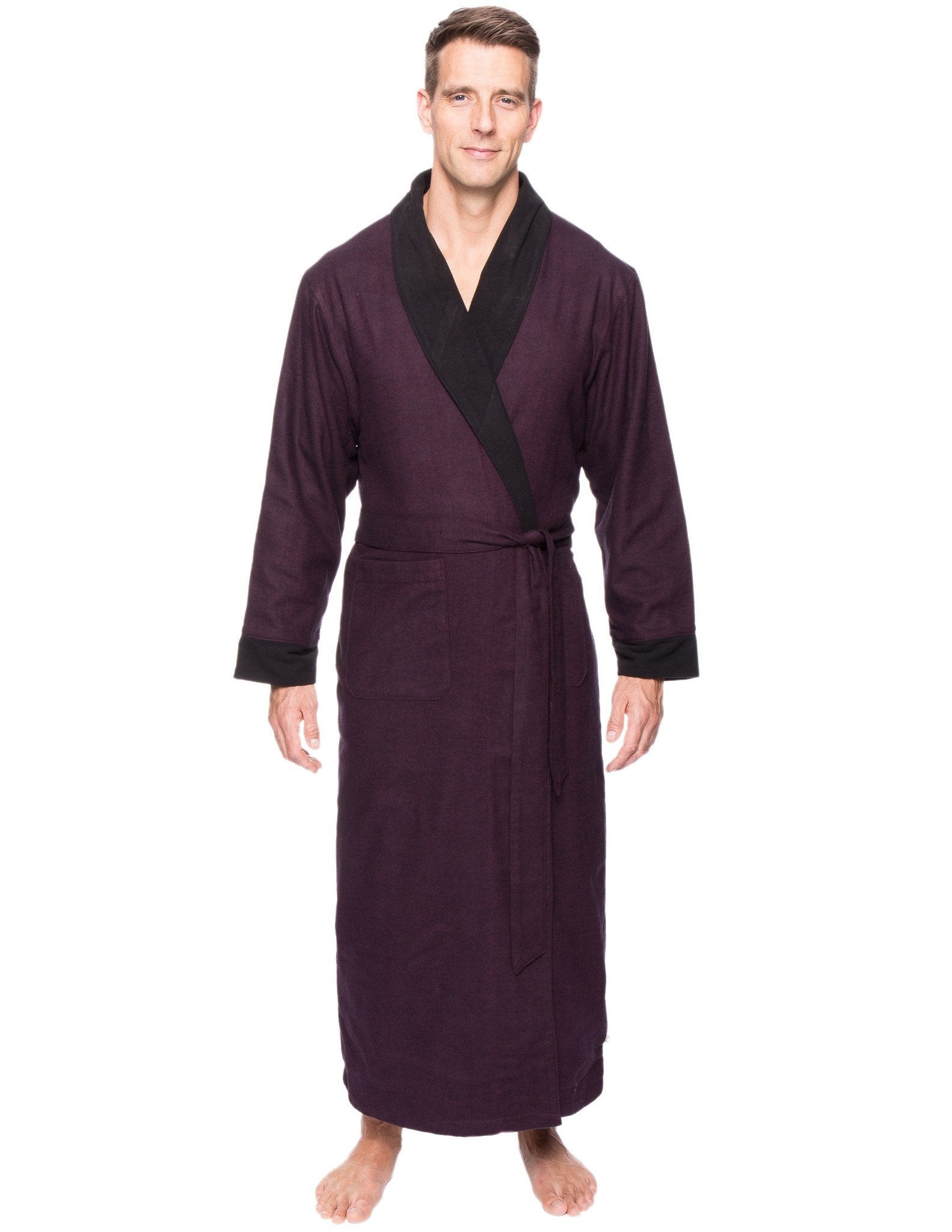 Men's Premium 100% Cotton Flannel Fleece Lined Robe - Herringbone Fig/Black