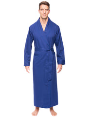 Mens Premium 100% Cotton Full-Length Robe - Windowpane Checks Navy/Blue