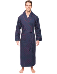 Mens Premium 100% Cotton Full-Length Robe - Diamond Checks Black/Red