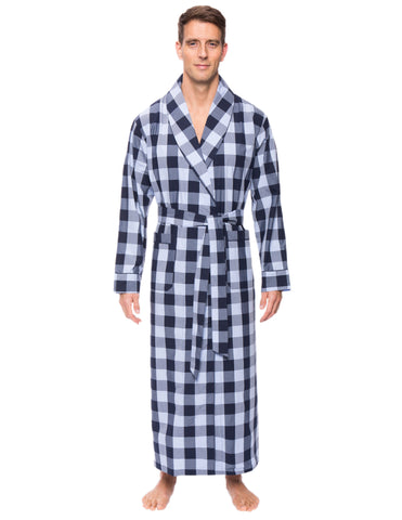 Mens Premium 100% Cotton Full-Length Robe - Gingham Blue