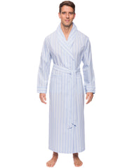 Mens Premium 100% Cotton Full-Length Robe - Stripes Chambray Blue