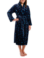 Women's Lush Butterfleece Spa/Bath Robe - Snow Leopard - Navy/Teal